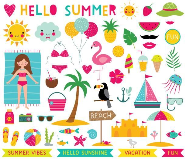 Summer time vector set Summer time vector set beach clipart stock illustrations