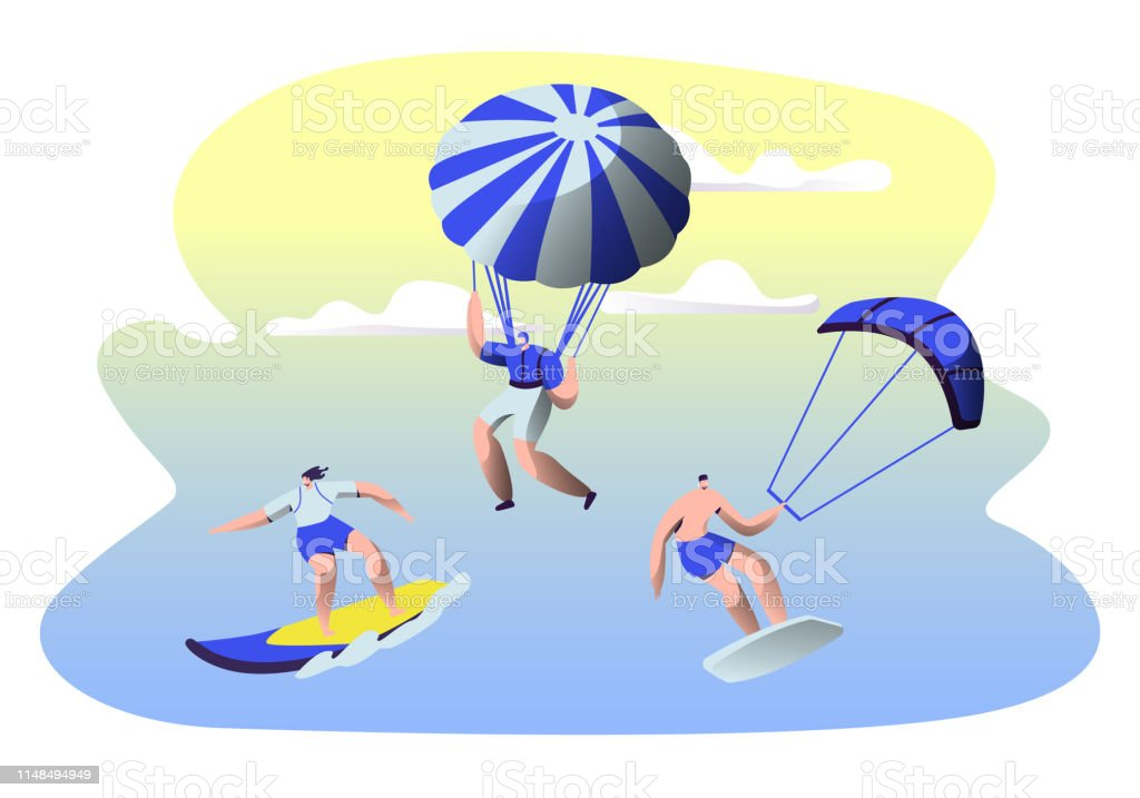 Summer Time Water Leisure Sports Activity. Surfing, Kitesurfing,...