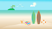 summer time with surfboard umbrella ball chair coconut on beach. boat in sea and sun bird fly bright over blue sky cloud mountain background. concept holiday illustration vector flat design