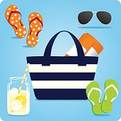 Striped navy tote beach bag with summer flip flops, sunglasses, drink and blanket