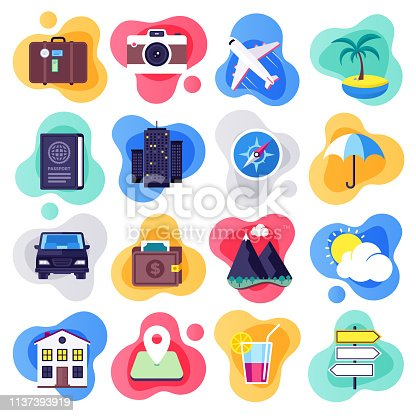 Summer tour vacation and travels liquid flat flow style concept symbols. Flat design vector icons set for infographics, mobile and web designs.