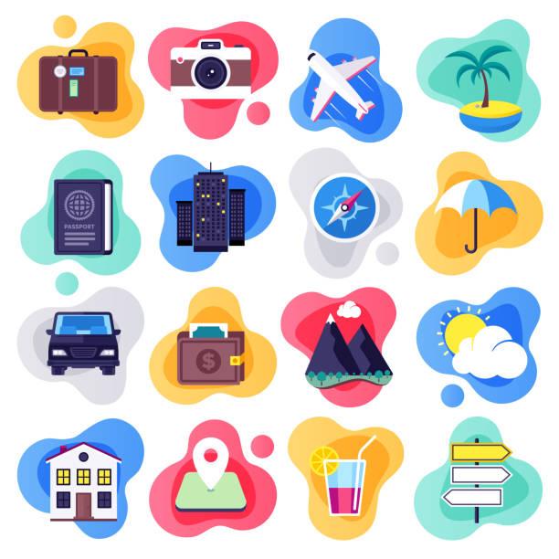 stockillustraties, clipart, cartoons en iconen met zomer tour vakantie & reist platte stroom stijl vector icon set - stroom activiteit