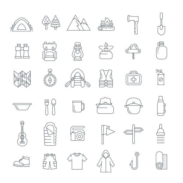 sommertourismus camping dünne linie flach symbole - zeltausrüstung stock-grafiken, -clipart, -cartoons und -symbole