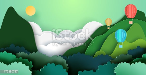 Summer travel and adventure concept with hot air balloons on mountains and forest nature landscape background paper art style.Vector illustration.