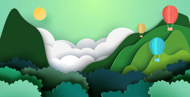 Summer travel and adventure concept with hot air balloons on mountains and forest nature landscape background. vector art illustration