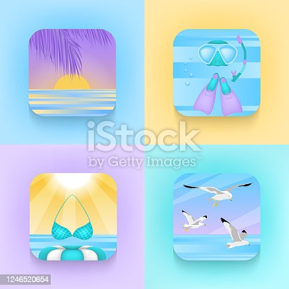 istock Summer travel and vacation icon collection 1246520654