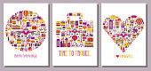 Summer Travel Around the World Cards Templates