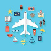 Flat design background with icons representing summer, plane travelling, relaxation on the beach, leisure time.