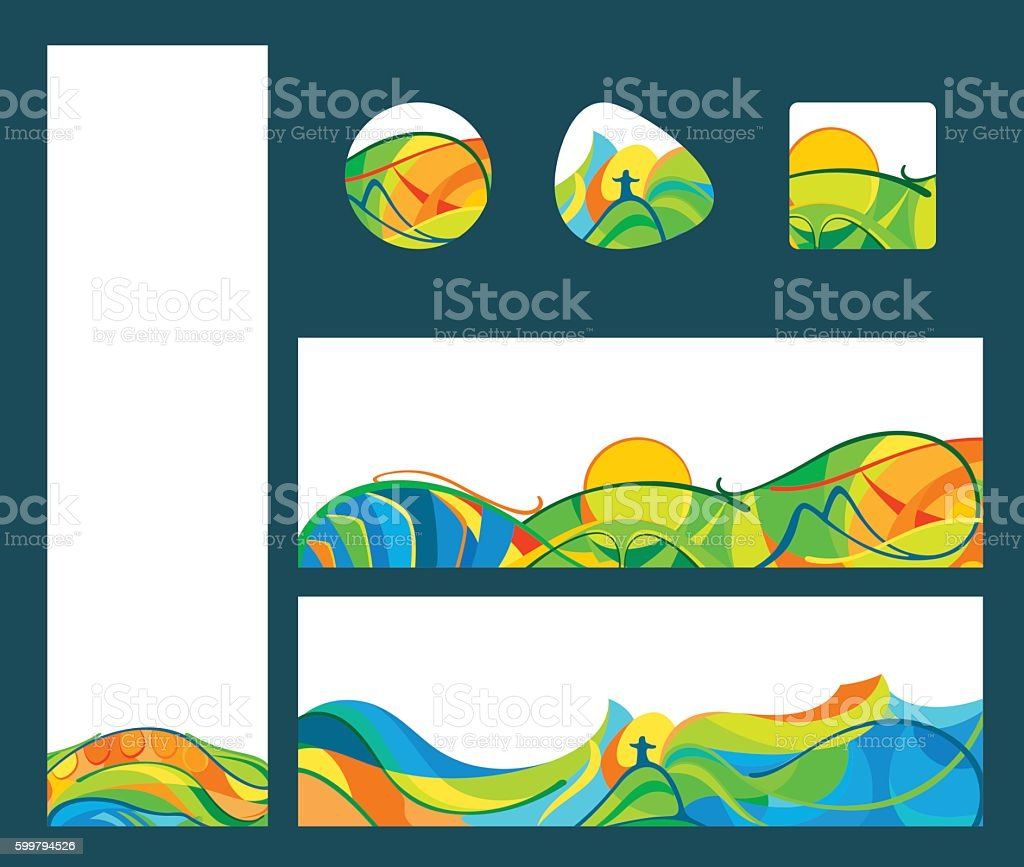 Summer travel - banners and buttons set vector art illustration