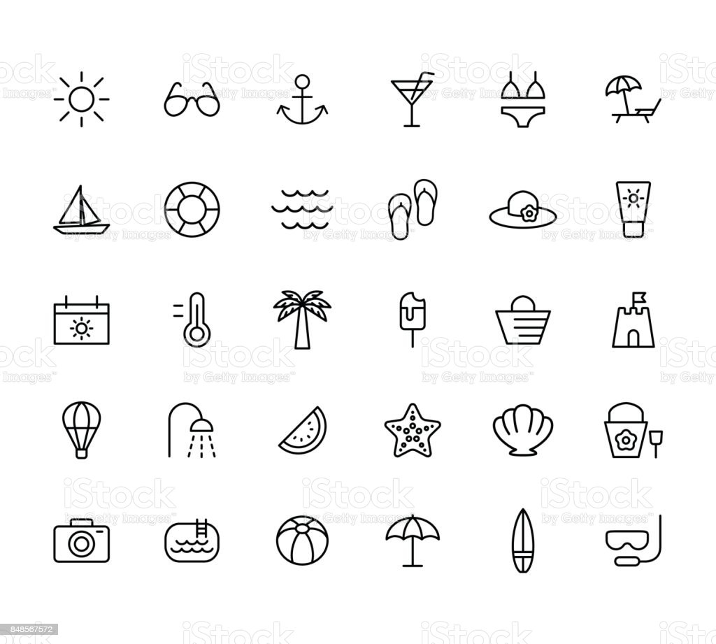 summer, travel, holiday and beach icons set on white background, vector art illustration