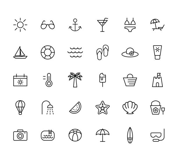summer, travel, holiday and beach icons set on white background, - beach stock illustrations