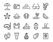 Vector summer, travel, holiday and beach icons set on white background