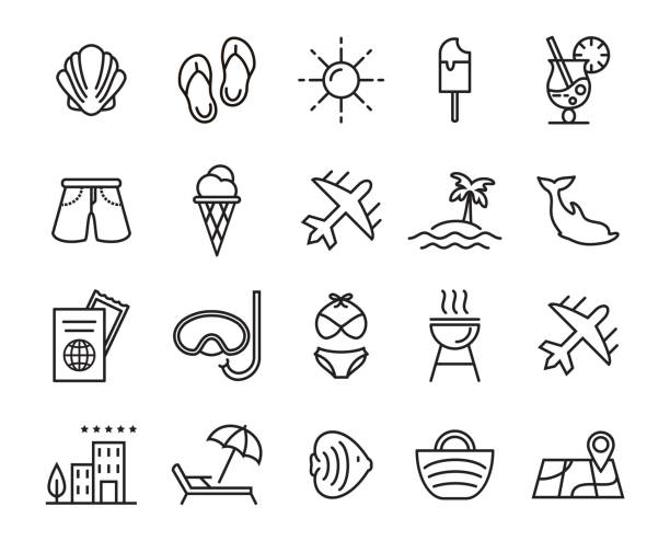 Summer, travel, holiday and beach icons set Vector summer, travel, holiday and beach icons set on white background outdoor chair stock illustrations
