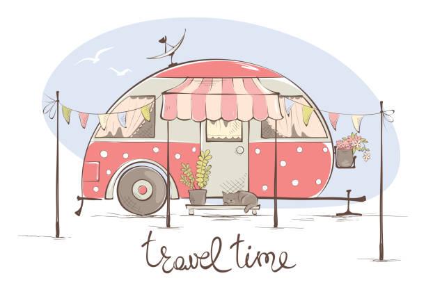sommer reisen in einem haus auf rädern - campinganhänger stock-grafiken, -clipart, -cartoons und -symbole