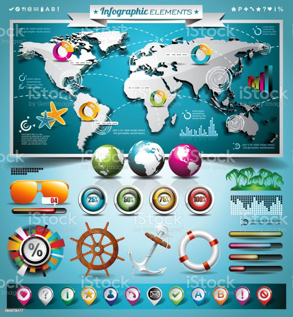 summer travel infographic set with world map royalty-free stock vector art