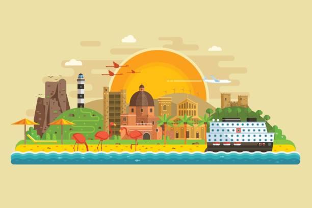 illustrazioni stock, clip art, cartoni animati e icone di tendenza di paesaggio estivo dell'isola di viaggio - sardegna