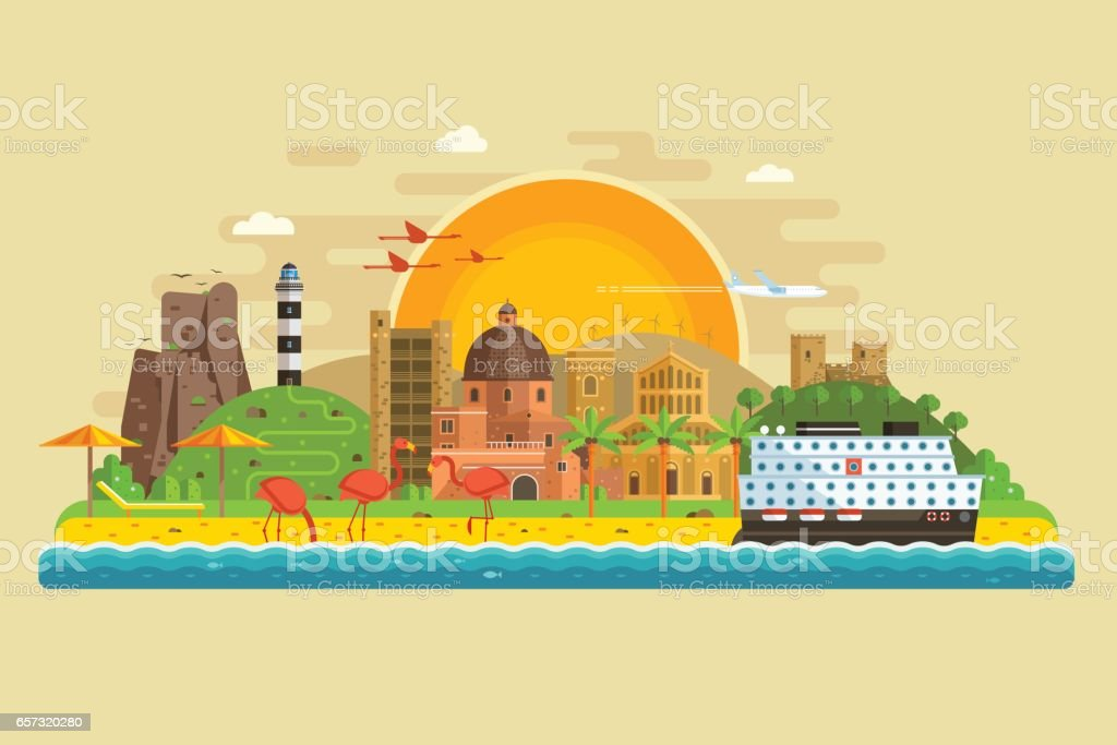 Summer Travel Island Landscape vector art illustration