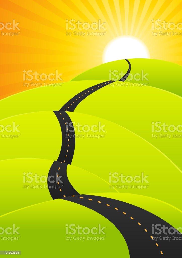 Summer Travel - Long Road Journey vector art illustration