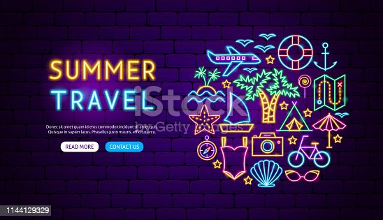 Summer Travel Neon Banner Design. Vector Illustration of Vacation Promotion.