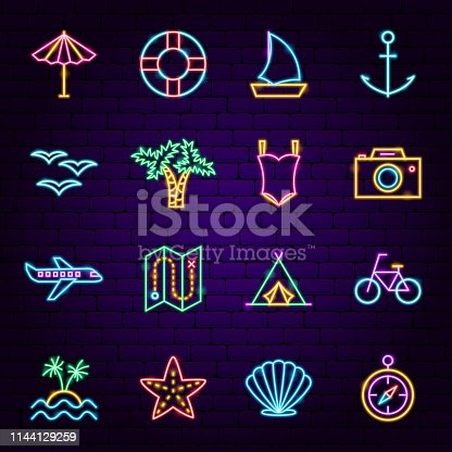 Summer Travel Neon Icons. Vector Illustration of Vacation Promotion.