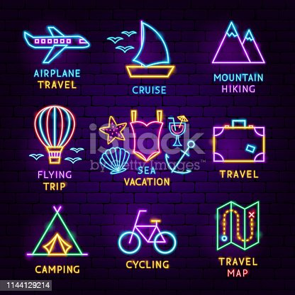 Summer Travel Neon Label Set. Vector Illustration of Vacation Promotion.