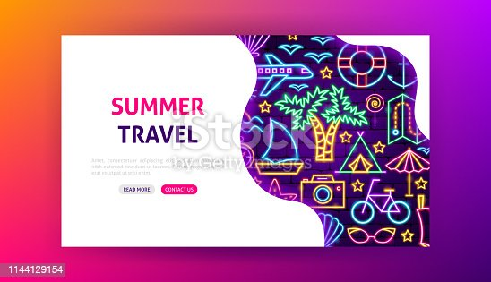 Summer Travel Neon Landing Page. Vector Illustration of Vacation Promotion.