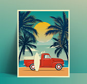 istock Summer travel poster design with vintage surfing truck on the beach with surfboard in the trunk and second surf board leaned to the car body and palms silhouettes at sunset. Vector illustration 1223776585
