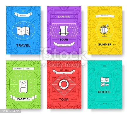 Summer travel trip infographic icons items design. Vacation rest with any elements set. Tour, journey outline illustrations vector background. Tourist image on thin line style concept.