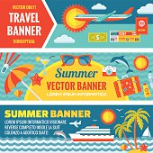Summer travel - vector banners set in flat style design