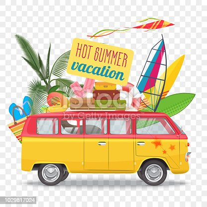 Summer travel vector illustration with bus. Beach concept