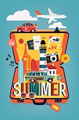 Summer travel with opened suitcase illustration