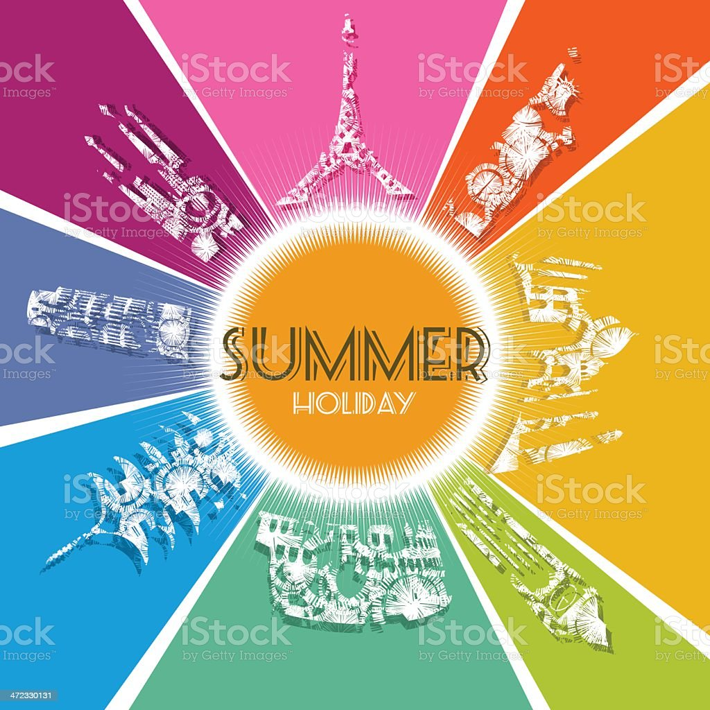 Summer travel world monuments holiday royalty-free stock vector art