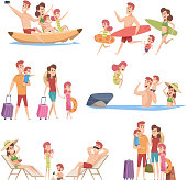 Summer travellers. Happy love couple with childrens beach walking vacation trip outdoor adventure vector characters collection. Illustration of vacation travel family, holiday tourism