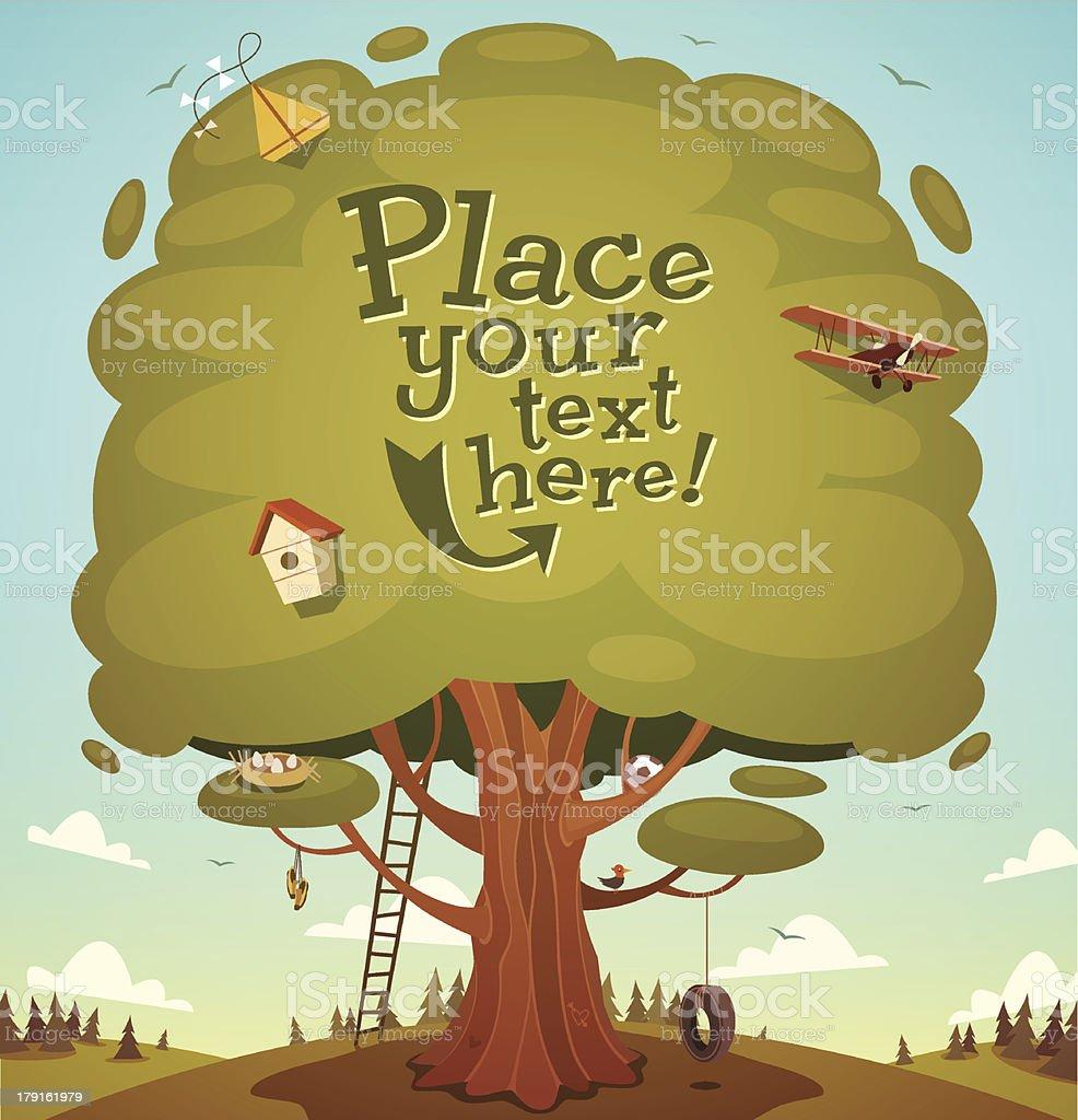 Summer tree background. Vector illustration. vector art illustration