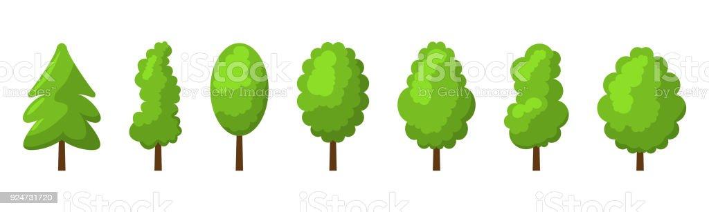 Summer tree set vector art illustration