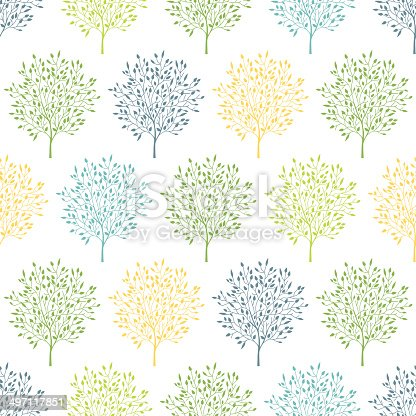 vector summer trees colorful seamless pattern background