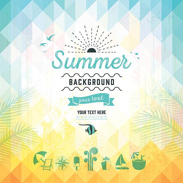 ilustraciones, imágenes clip art, dibujos animados e iconos de stock de fondo de triángulo de verano - verano