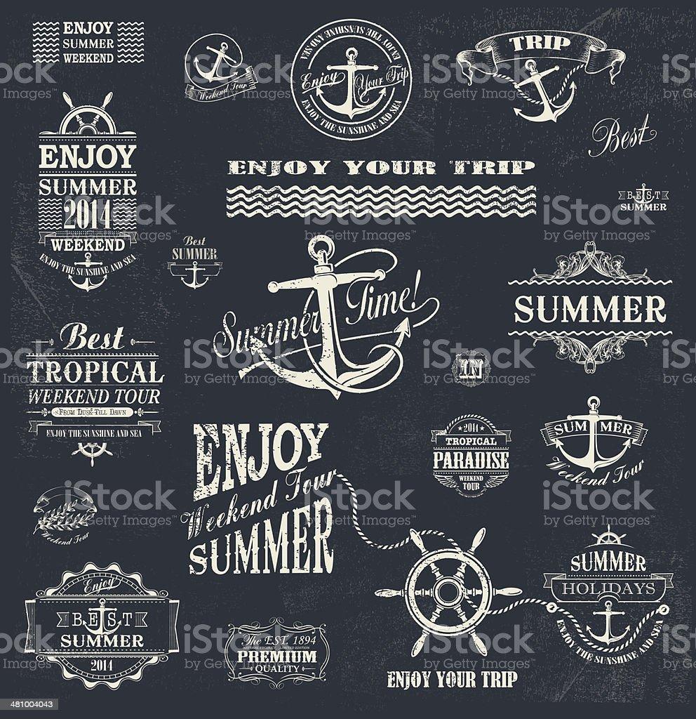 Summer trip  Design set vector art illustration