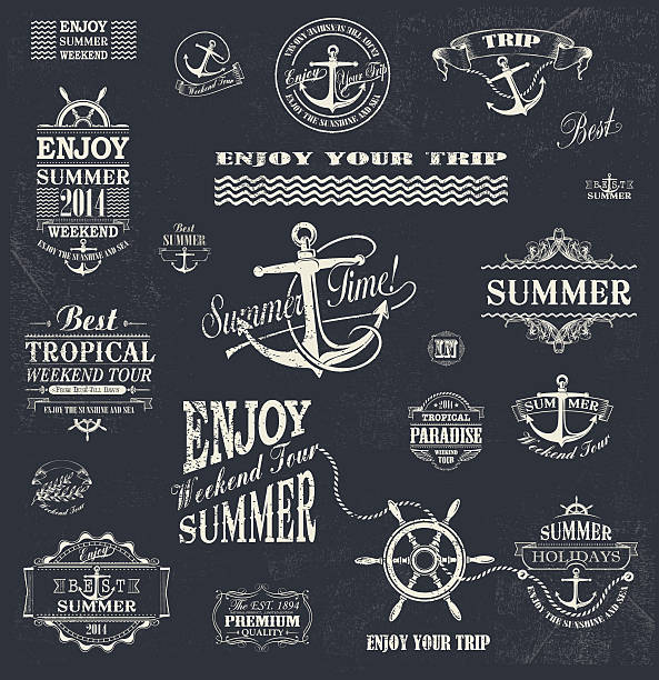 Summer trip  Design set vector art illustration