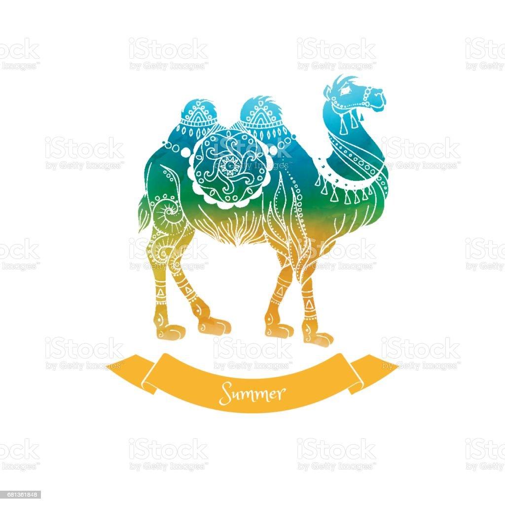 Ilustración de Summer Trip Vector Illustration Card Camel