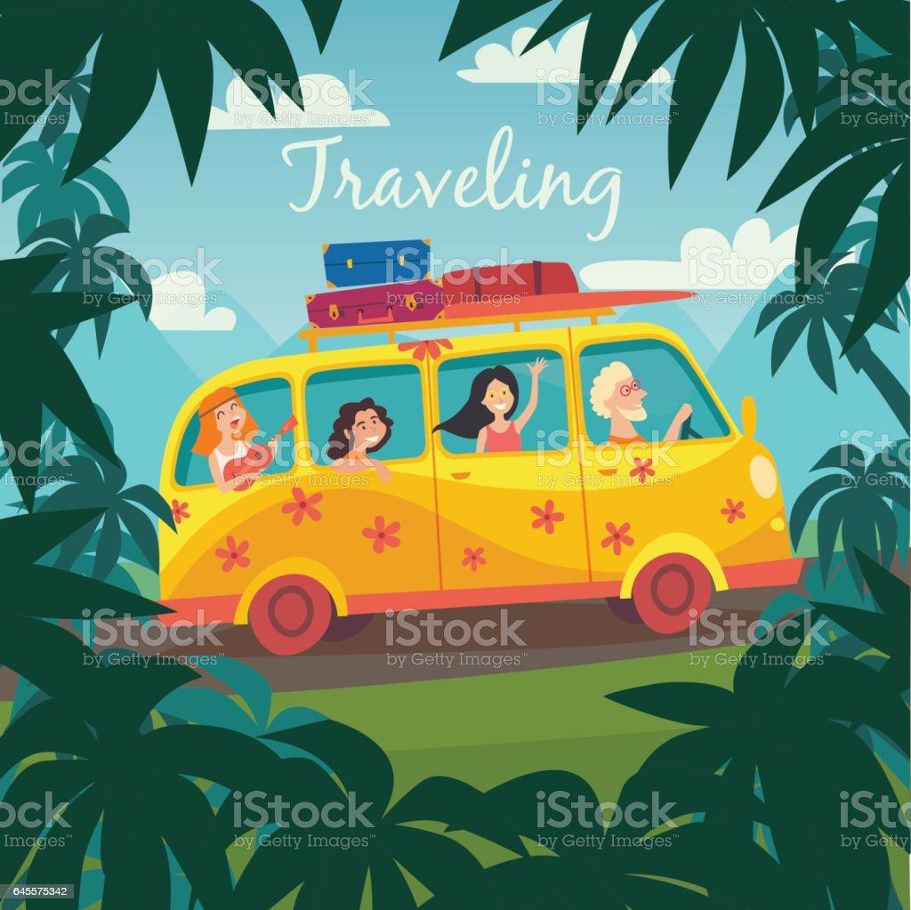 Summer Trip Vector Illustratio...