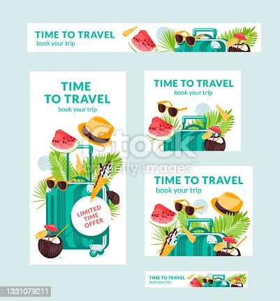 istock Summer tropic travel illustration vector banners of different sizes is suitable for poster , Flyer and related with food. Suitcase, palm leaves, sun hat, shells, tropic cocktail. Swim beach rest 1331079211