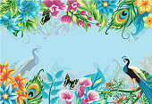 Summer tropical background banner with flowers and peacock