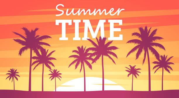 letnie tropikalne tło. sylwetki dłoni na plaży. kolory zachodu lub wschodu słońca. piękne pomarańczowe niebo i krajobraz przyrody. prosty nowoczesny design. ilustracja wektorowa w stylu płaskim. - zachód słońca stock illustrations