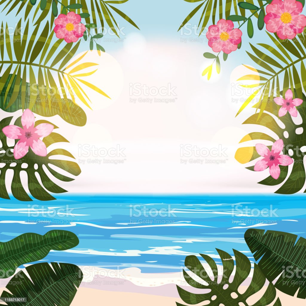 Summer Tropical Background With Exotic Floral Plants
