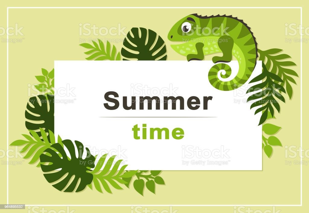 Summer tropical background with palm leaves and cartoon cute iguana. Rectangular frame. royalty-free summer tropical background with palm leaves and cartoon cute iguana rectangular frame stock vector art & more images of advertisement