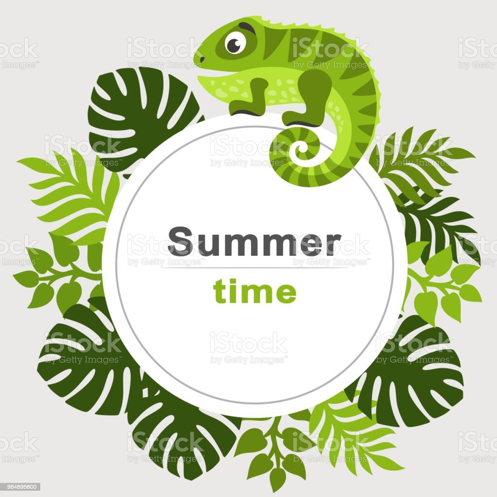 Summer tropical background with palm leaves and cartoon iguana. Round frame. royalty-free summer tropical background with palm leaves and cartoon iguana round frame stock illustration - download image now