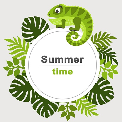 Summer Tropical Background With Palm Leaves And Cartoon Iguana Round Frame Stock Illustration - Download Image Now