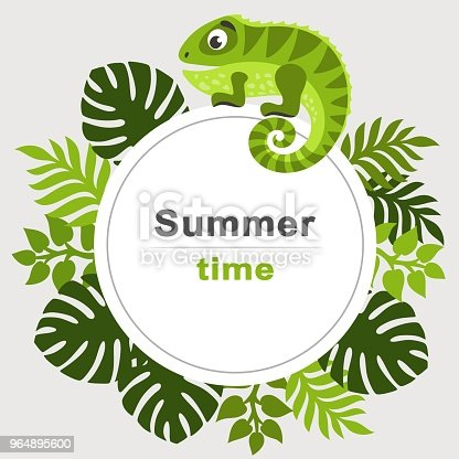 Summer Tropical Background With Palm Leaves And Cartoon Iguana Round Frame Stock Vector Art & More Images of Advertisement 964895600