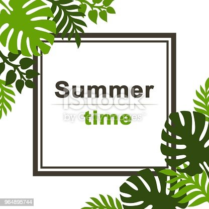 Summer Tropical Background With Palm Leaves Stock Vector Art & More Images of Advertisement 964895744
